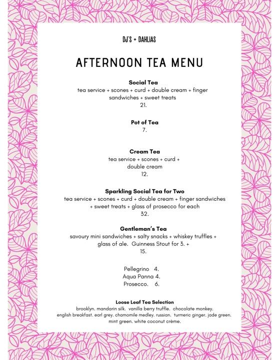 tea menu.